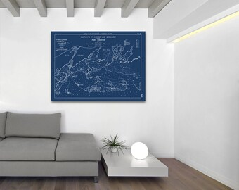 Antique Print of Captain's Harbor & Greenwich, CT and Port Chester, NY on your choice of Photo Paper, Matte Paper or Canvas Giclee