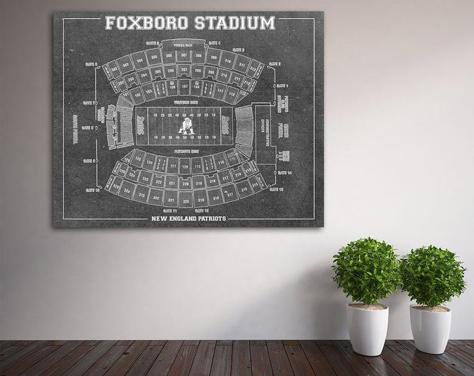 Print of Vintage Foxboro Stadium Seating Chart Seating Chart on Photo Paper, Matte paper or Canvas