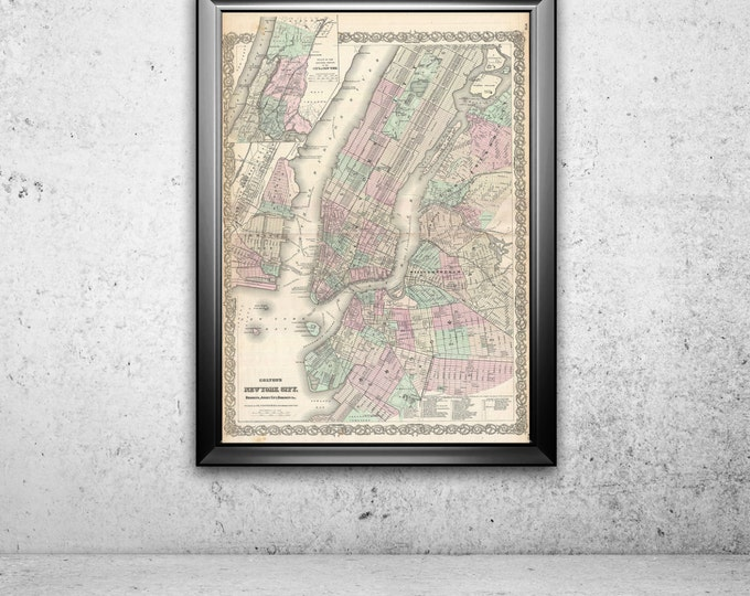 Print of Antique Map of New York City by Colton on Photo Paper Matte Paper or Stretched Canvas