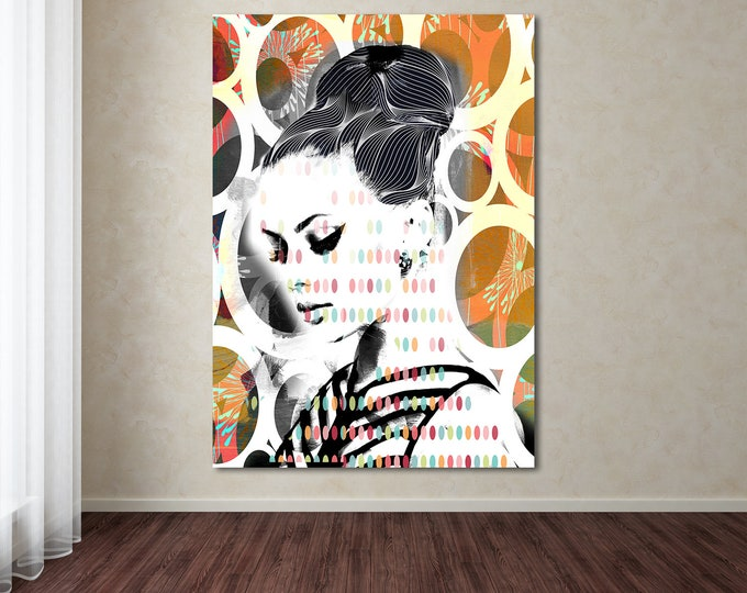 Original Print of Pop Art Collage Featuring Beautiful Female Depiction. Available on Canvas, Photo Paper, or Matte Paper in Many Sizes.