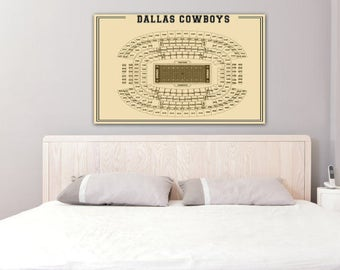 Vintage Print of NEW AT&T Stadium Seating Chart on Photo Paper, Matte Paper, or Stretched Canvas