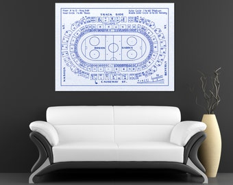 Vintage Print of Boston Garden Hockey Seating Chart on Photo Paper, Matte Paper, or Canvas