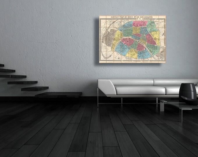 Print of Antique Ledot Pocket Map of Paris, France on Photo Paper Matte Paper or Stretched Canvas