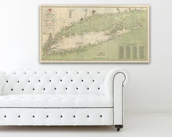 Print of Vintage Map of Long Island, New York on Photo Paper Matte Paper or Stretched Canvas