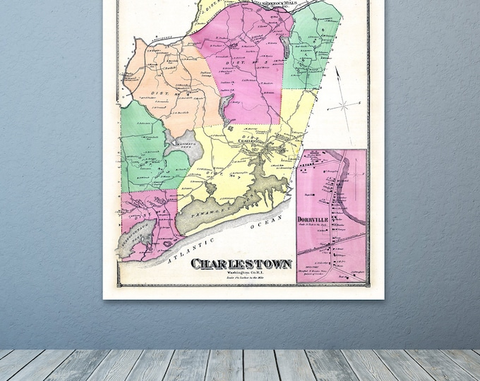 Print of Antique Map of Charlestown Rhode Island Washington County on Photo Paper, Matte Paper or Stretched Canvas