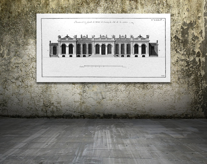 Antique Print of Hotel De Lassay of Paris, France on your choice of color and Photo Paper, Matte Paper or Canvas Giclee.
