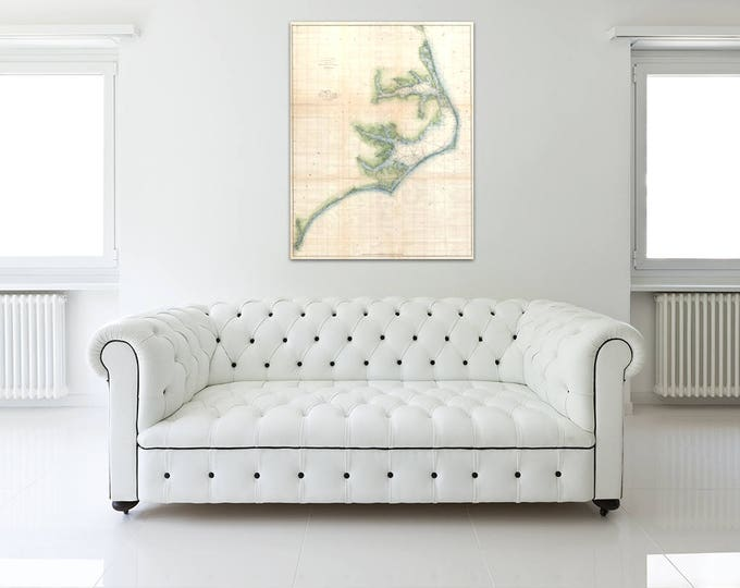 Antique map of North Carolina Coast Survey on Your Choice of Matte Paper, Photo Paper, Stretched Canvas