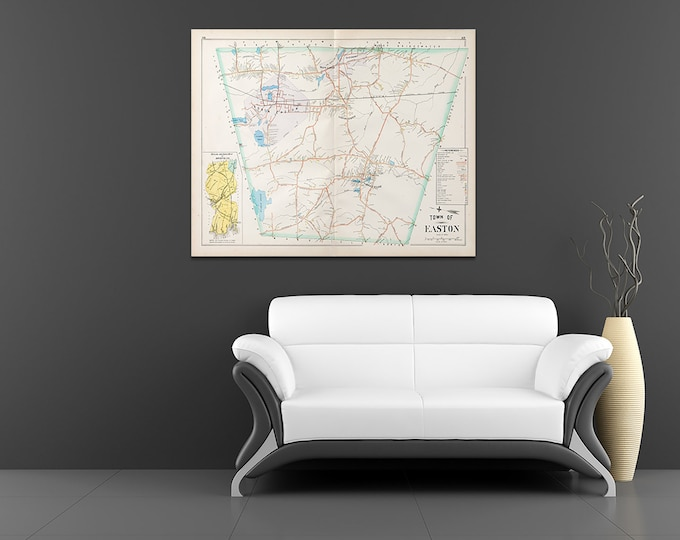 Print of Antique Town Map of Easton Massachusetts on Photo Paper, Matte Paper and Stretched Canvas