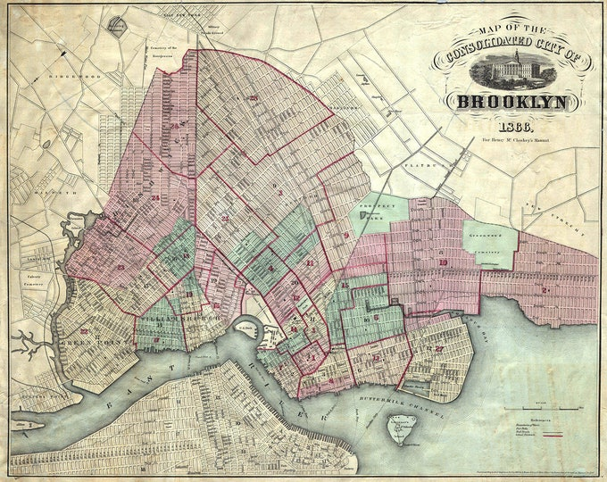 Vintage Antique Print NY Brooklyn 1866 Harbor Chart Map on Matte Paper, Photo Paper or Stretched Canvas