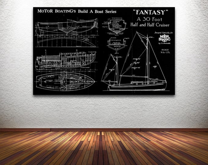 Vintage Print of FANTASY Runabout Diagram Line Drawing Schematic Blueprint on Matte Paper, Photo Paper or Stretched Canvas