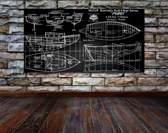 Print of Vintage PORGY Boat Blueprint from Motor Boating's Build a Boat Series on Your Choice of Matte Paper, Photo Paper, or Canvas