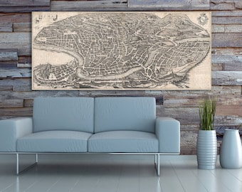 Print of Antique Map of Rome, Italy on Photo Paper, Matte Paper or Stretched Canvas