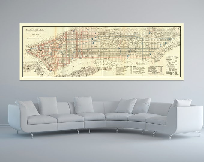 Print of Antique Map of Manhattan Street Railway System New York on Photo Paper Matte Paper or Stretched Canvas
