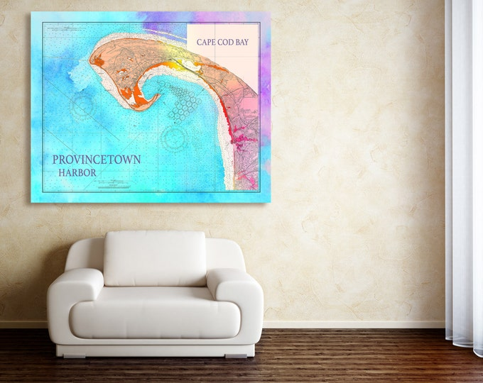 Artistic Print of Provincetown Nautical Chart on your choice of Photo Paper, Matte Paper or Canvas Giclee