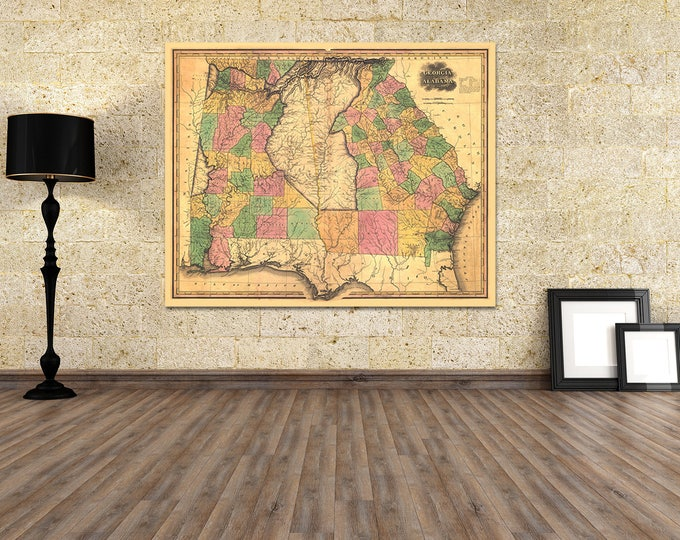 Print of Antique Map of Georgia and Alabama on Photo Paper Matte Paper or Stretched Canvas