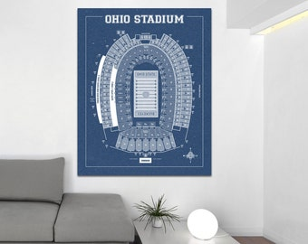 Vintage Style Print of Ohio Stadium on Photo Paper, Matte Paper, or Stretched Canvas.