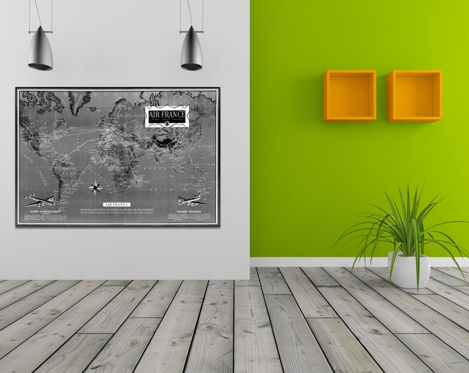 French Vintage Antique Air France World Map Airline Plane on photo paper Matte paper Canvas Art Home Decor Giclee Print
