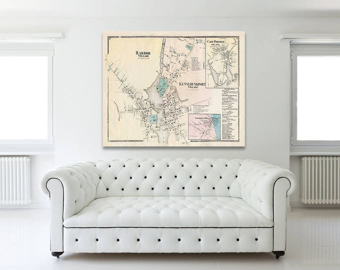 Print of Antique Map of Harbor Village, Cape Porpoise, and Kennebunk Village on Matte Paper, Photo Paper, or Stretched Canvas. Free Shipping