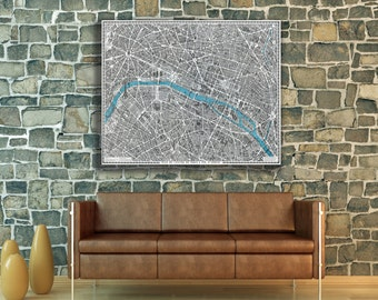 Vintage Antique Print of Hand Drawn Map of Paris on Photo Paper Matte Paper Canvas Giclee