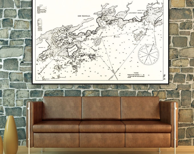 Antique Print of a Larchmont & New Rochelle New York Map on your choice of Photo Paper, Matte Paper or Canvas Giclee