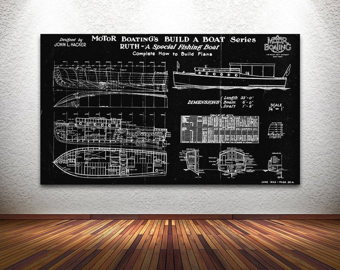 Print of Vintage RUTH Boat Blueprint from Motor Boating's Build a Boat Series on Your Choice of Matte Paper, Photo Paper, or Canvas