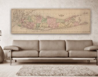Print of Vintage Long Island Map on Photo Paper Matte Paper Canvas FREE SHIPPING Decor Giclee Antique Nautical Chart Blueprint Line New York