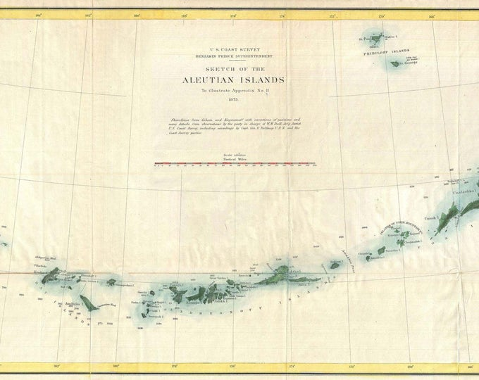 Vintage Antique Print of Aleutian Islands Alaska Map on Photo Paper, Matte Paper or Stretch Canvas