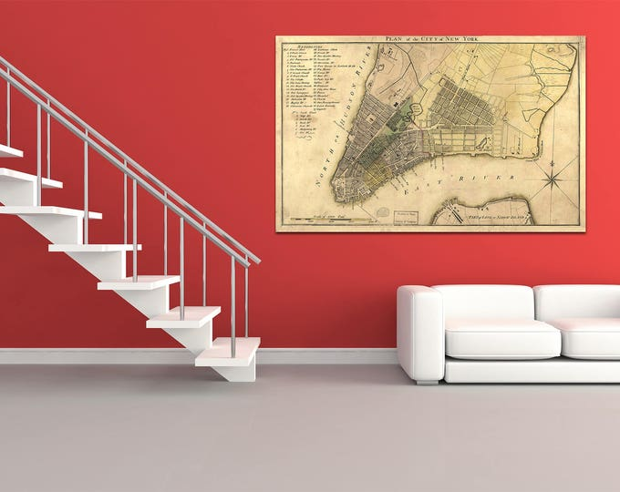 Print of Antique Map of Plan of New York City on Photo Paper Matte Paper or Stretched Canvas