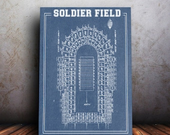 Print of Vintage Soldier Field Seating Chart on Photo Paper, Matte paper or Canvas