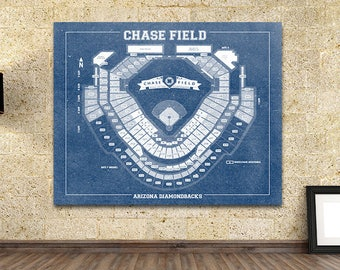 Vintage Print of Chase Field Seating Chart Baseball Arizona Diamondbacks Blueprint on Photo Paper, Matte Paper or Stretched Canvas