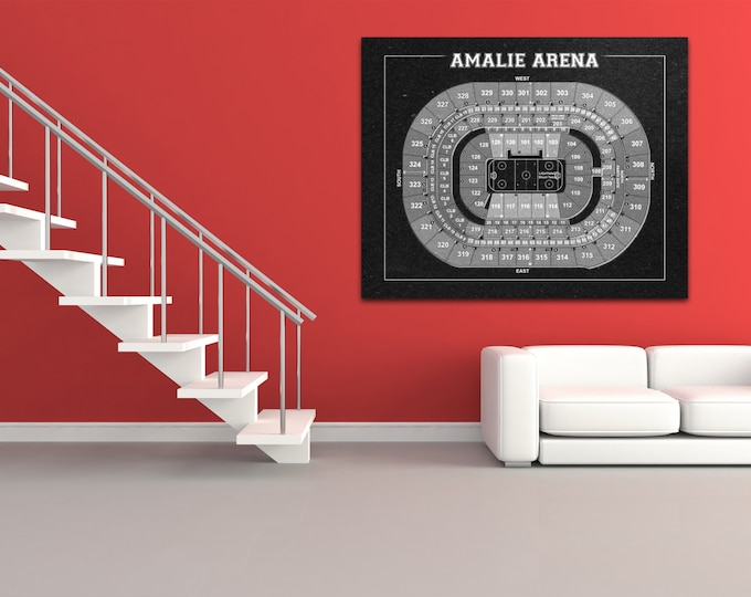Vintage Tampa Bay Lightning Amalie Arena Center on Photo Paper, Matte paper or Canvas Sports Stadium Tickets Art Home Decor Line Drawing