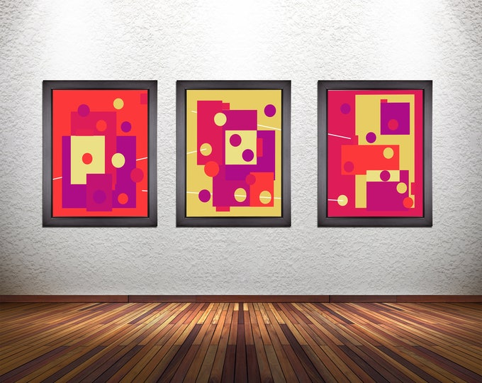 Set of 3 Colorful Modern Abstract Art Prints on Photo Paper, Matte Paper, or Stretched Canvas