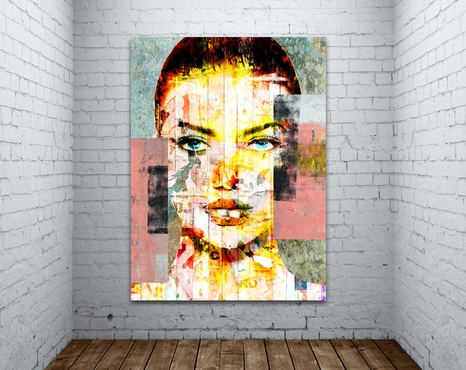 Original Print of Pop Art Collage Featuring Woman's Face with Texture. Printed on Canvas, Photo Paper, or Matte Paper in Many Sizes.