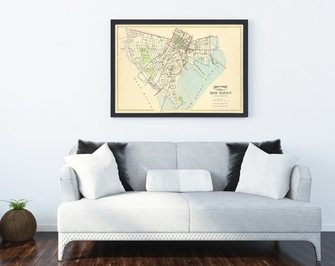 Print of Antique Map of South Part of City of New Haven on Photo Paper, Matte Paper or Stretched Canvas