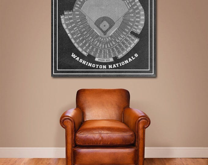 Print of Vintage Nationals Park Seating Chart Seating Chart on Photo Paper, Matte paper or Canvas