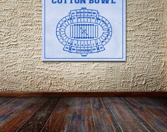 Print of Vintage Cotton Bowl Seating Chart Seating Chart on Photo Paper, Matte paper or Canvas