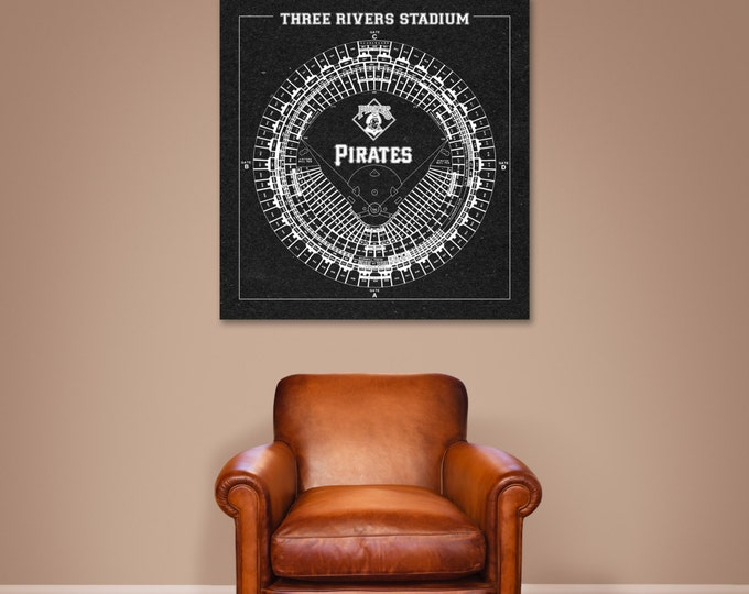Vintage Style Print of Three Rivers Stadium on Photo Paper, Matte Paper, or Stretched Canvas