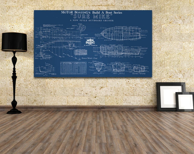 Print of Vintage SURE MIKE Boat Blueprint from Motor Boating's Build a Boat Series on Your Choice of Matte Paper, Photo Paper, or Canvas