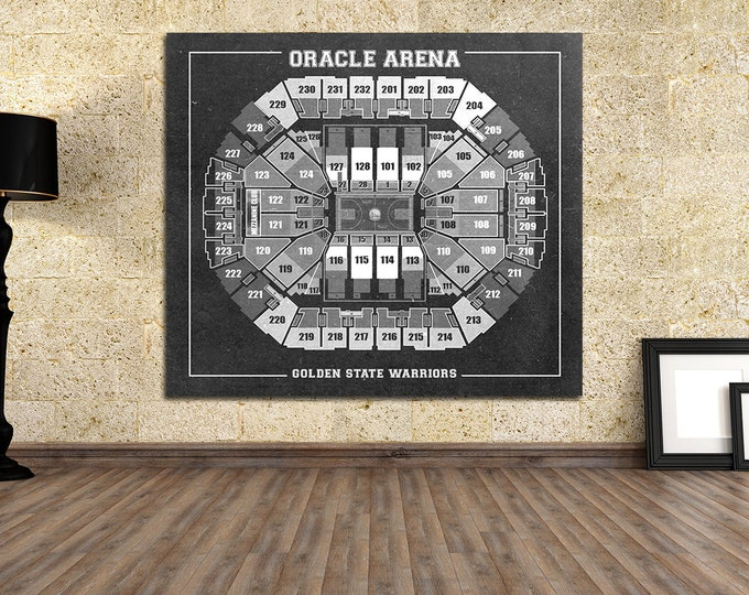 Print of Vintage Oracle Arena Diagram on Photo Paper, Matte paper or Canvas Sports Tickets Art Home Decor Line Drawing Golden State Warriors