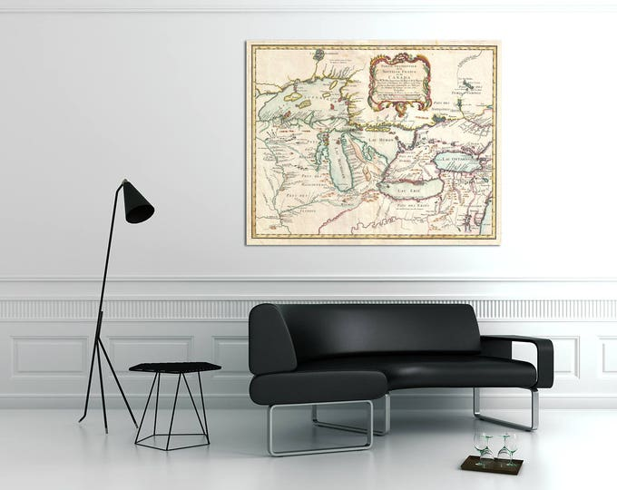 Print of Antique French Map of the Great Lakes on Photo Paper Matte Paper or Stretched Canvas