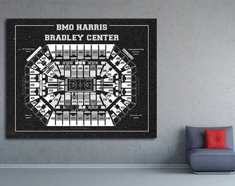 Vintage Print of BMO Harris Center Seating Chart on Premium Photo Luster Paper Heavy Matte Paper, or Stretched Canvas. Free Shipping!