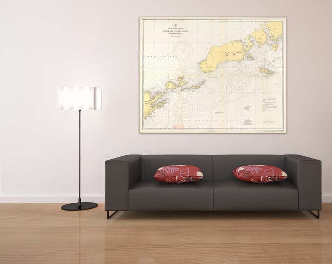 Print of Antique Alaska - Aleutian Islands, Unimak and Akutan Passes Nautical Chart on Photo Paper, Matte Paper, or Stretched Canvas