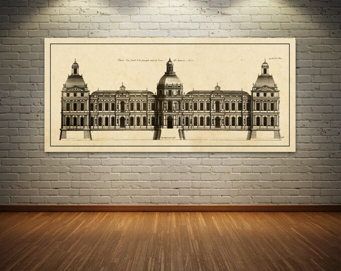 Print of Vintage Elevation Plan of the Face of Louvre Palace in Paris, France