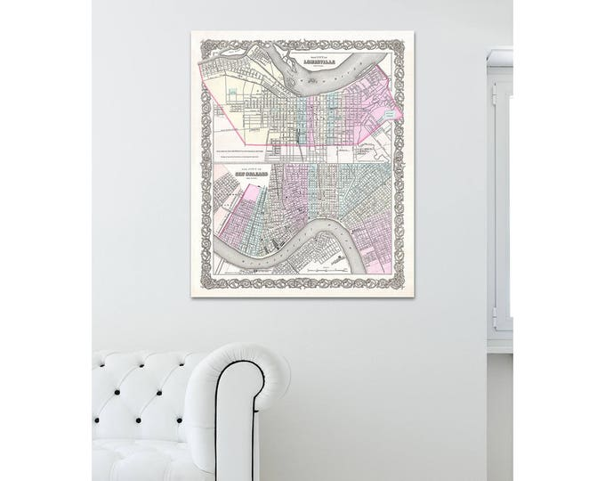 Print of Vintage Louisville New Orleans Map on Photo Paper Matte Paper or Stretched Canvas with Free Shipping!