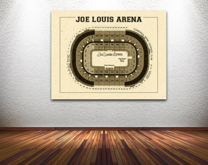 Vintage New Detroit Red Wings Joe Louis Arena on Photo Paper, Matte paper or Canvas Sports Stadium Tickets Art Home Decor Line Drawing
