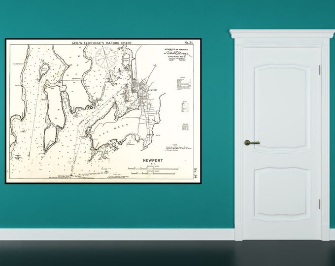 Antique Print of a Newport, Rhode Island chart on your choice of Photo Paper, Matte Paper or Canvas Giclee