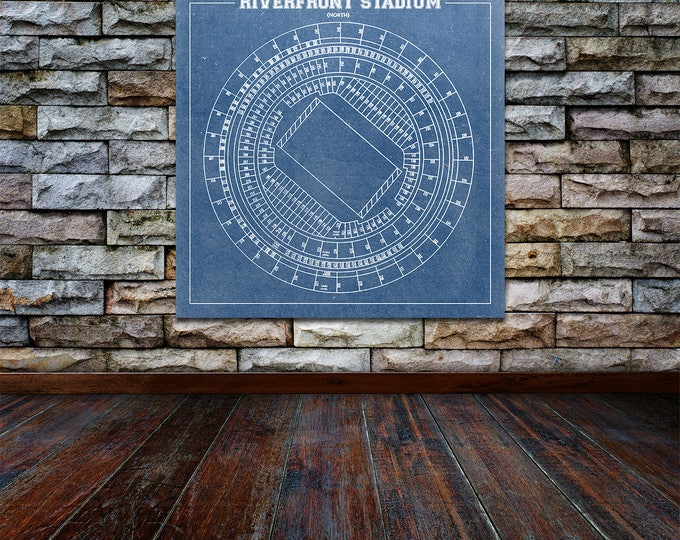 Vintage Style Print of Riverfront Stadium Seating Chart on Photo Paper, Matte Paper, or Stretched Canvas