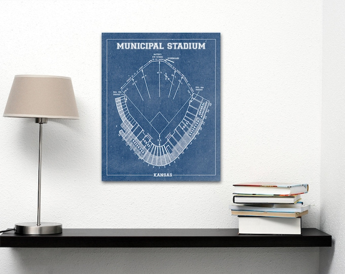 Vintage Print of Kansas Municipal Stadium Seating Chart Baseball Blueprint on Photo Paper, Matte Paper or Stretched Canvas
