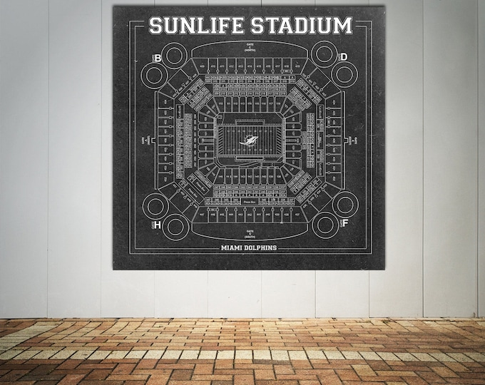 Vintage Style Print of Sunlife Stadium Seating Chart on Photo Paper, Matte Paper, or Stretched Canvas