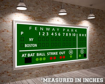 Vintage Boston Red Sox Fenway Green Monster Scoreboard Board Print on Photo Paper Base Ball Sports Team Home Decor Poster
